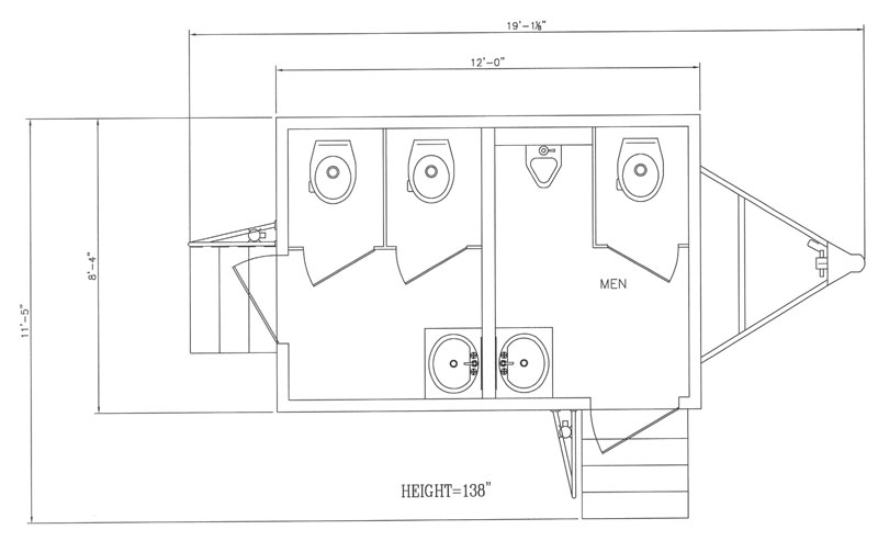 12' restroom trailer layout